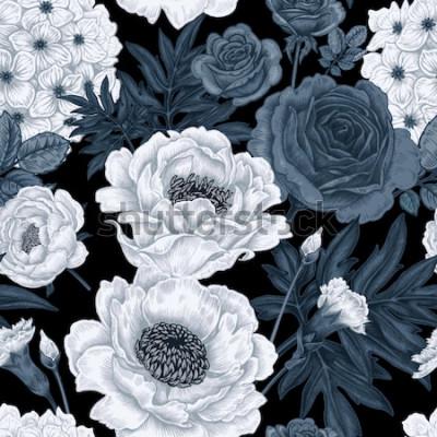 Cuadro Fondo floral blanco y negro con rosas, peonías, hortensias, claveles.