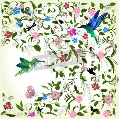 Cuadro Fondo floral con el pájaro