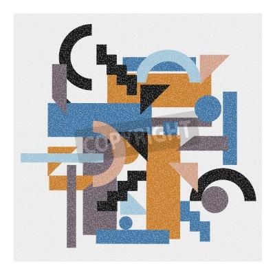 Cuadro Fondo geométrico abstracto en estilo del cubismo.