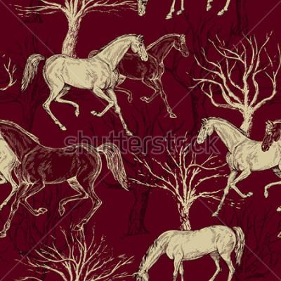 Cuadro Fondo hermoso vintage, caballos y árboles, bosque creativo, patrón retro retro, tela de arte, papel tapiz de vector de fantasía para decoración y diseño
