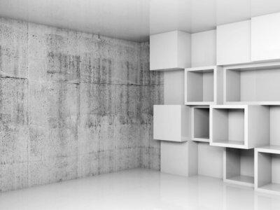 Cuadro Fondo interior vacío abstracto con cubos blancos