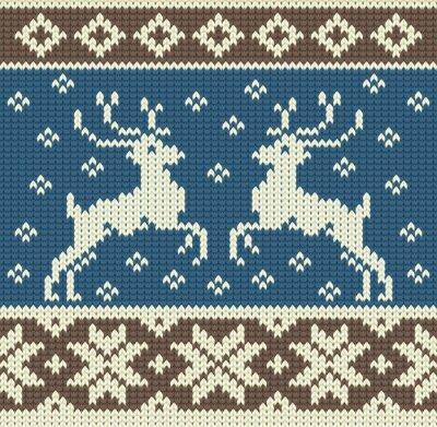Cuadro Fondo lindo de tejer con dos renos y copos de nieve