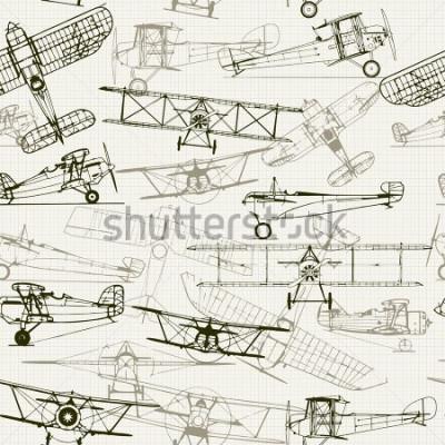 Cuadro Fondo regularmente de la vendimia. Composición estilizada de la ilustración del aeroplano. La textura del papel cuadriculado se puede desactivar. Se puede utilizar para fondos de pantalla, rellenos de