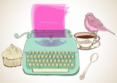 Cuadro fondo retro máquina de escribir