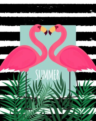 Cuadro Fondo rosado lindo del verano del flamenco ejemplo del vector