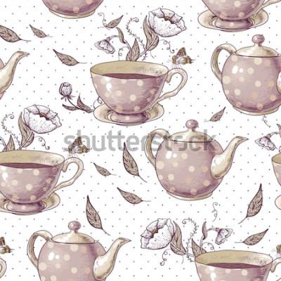 Cuadro Fondo transparente con tazas de té, macetas y flores en estilo vintage.