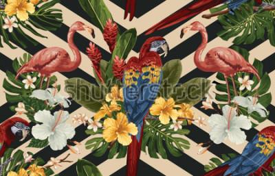 Cuadro Fondo tropical inconsútil del modelo con las flores tropicales, el macaw rojo del escarlata y el flamenco. Ilustración tropical en estilo hawaiano vintage.