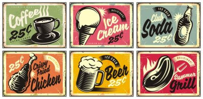 Cuadro Food and drinks vintage restaurant signs collection. Set of retro advertisements for coffee, beer, ice cream, club soda, grill and fried chicken. Vector illustration.