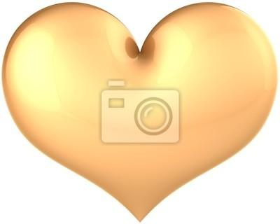 Forma de corazón de oro icono clásico. Símbolo de amor de glamour