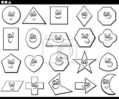 Formas Geométricas Básicas De Dibujos Animados En Blanco Y