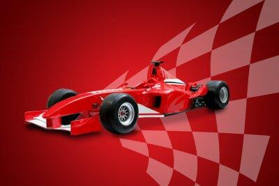 Cuadro fórmula roja un coche y la bandera de carreras