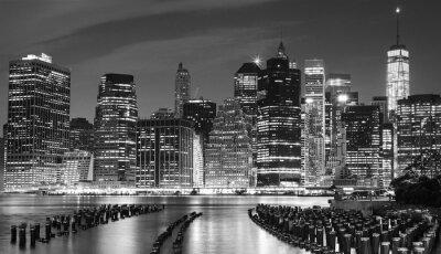 Cuadro Foto blanco y negro de la costa de Manhattan, NYC, los EEUU.