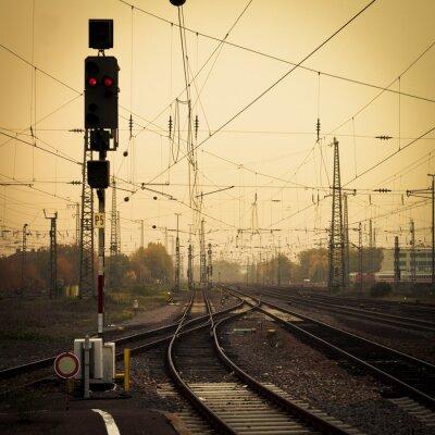 Cuadro Fotografía móvil tono confuso ferrovías atardecer