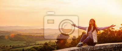 Cuadro Free Happy Woman Enjoying Nature. Freedom Concept. Beauty Girl over Sky and Sun
