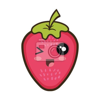 Fresa Fruta Comida Dibujo Animado Del Kawaii Con La Cara Feliz