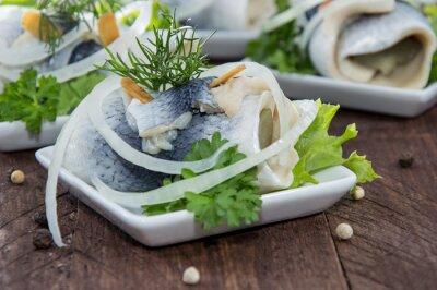 Cuadro Fresca hecha Rollmop en un plato