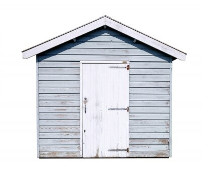 Frontal view of a simple off white garden shed, made from planks, with a door and a saddle roof, isolated on a white background