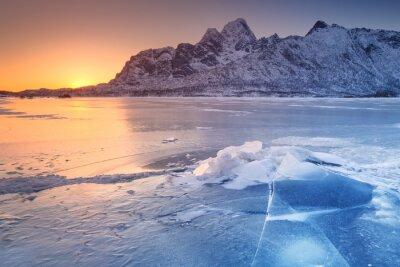Frozen fjord on the Lofoten in northern Norway