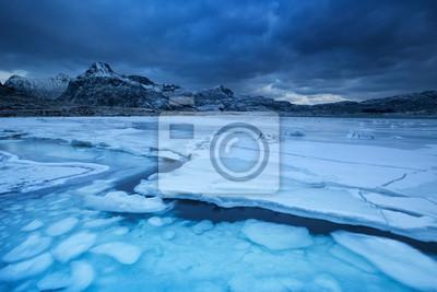 Frozen fjord on the Lofoten in northern Norway in winter