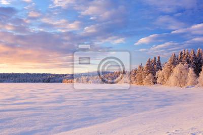 Frozen Lago Äijäjärvi en Laponia finlandesa en invierno al atardecer