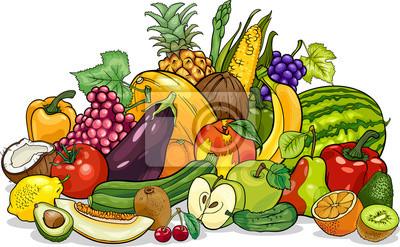 Frutas Y Verduras Grupo De Dibujos Animados Pinturas Para La Pared