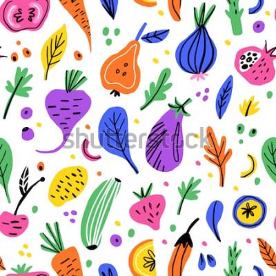 Cuadro Frutas y verduras plana mano dibujada de patrones sin fisuras. Textura de dibujos animados de nutrición saludable. Alimentos orgánicos ilustraciones escandinavas. Dieta croquis color clipart. Textil d