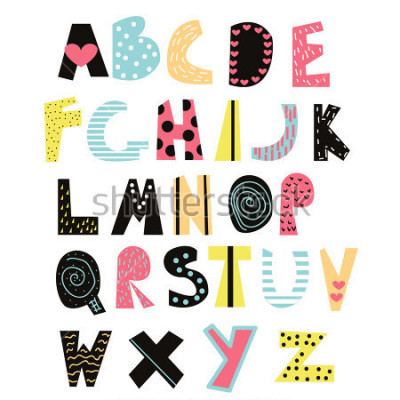 Cuadro Fuente de niños graciosos. Alfabeto lindo para la educación o la decoración. Vector dibujado a mano ilustración.