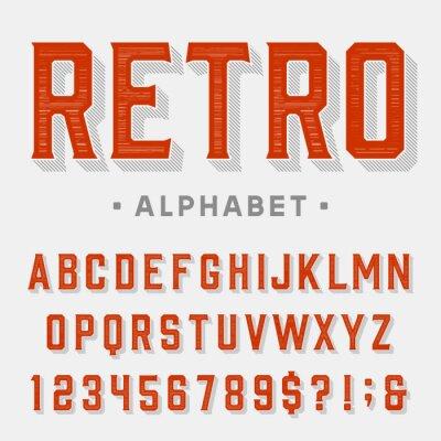 Cuadro Fuente de vector retro. Cartas, números y símbolos. Alfabeto de la vendimia para las etiquetas, los títulos, los carteles etc.
