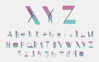 Cuadro Fuentes alfabéticas negras y números con líneas de color. Ilustración del vector.