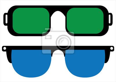 f8ca06360e Gafas de sol retro aislados sobre fondo blanco pinturas para la ...