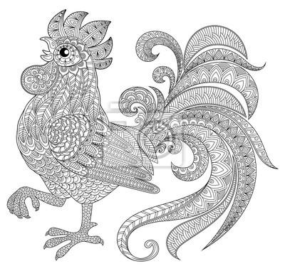 Gallo en estilo zentangle. símbolo del año nuevo chino 2017 ...