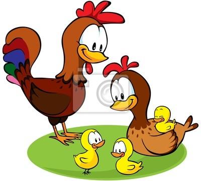 Gallo La Gallina Y Los Pollos De Dibujos Animados Pinturas Para La