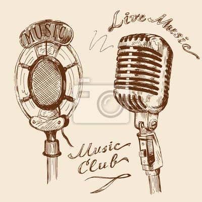 Garabatos de micrófono de la vendimia