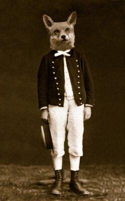 Cuadro Garçon avec une tête de renard
