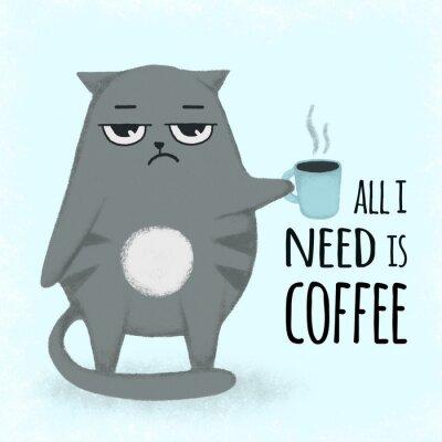 Cuadro Gato dibujado mano azul linda de la historieta con la taza de café. Gato que sostiene una taza.