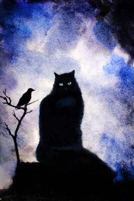Cuadro gato negro con ojos verdes