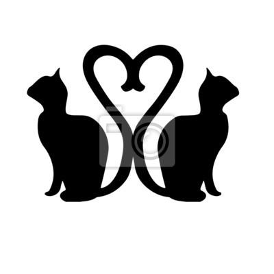 Gatos De La Silueta Con Las Colas Que Forman El Corazón De Un