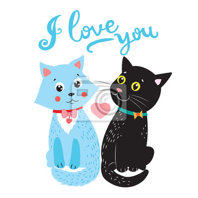 Gatos Del Amor Vector Animales De Dibujos Ilustración Dos Gatos