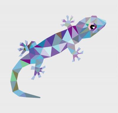 Cuadro Gecko triángulo bajo polígono vectorial