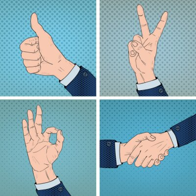 Cuadro Gestos de mano en estilo cómico Pop Art
