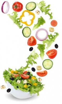 Cuadro Gesund Vegetarisch Essen Salat mit Tomate, Gurke, Zwiebel und Pa