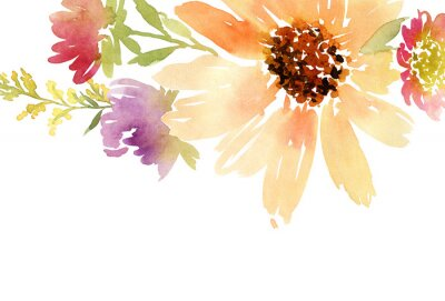 Cuadro Girasoles acuarela postal. Boda. Fondo floral.