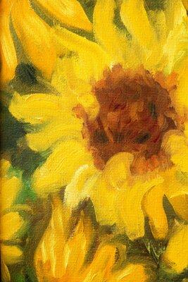 Cuadro Girasoles soleados pintura al óleo sobre lienzo.