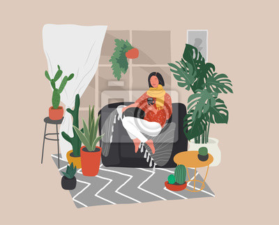 Cuadro Girl sitting and resting on the couch with a cat and coffee. Daily life and everyday routine scene by young woman in scandinavian style cozy interior with homeplants. Cartoon vector
