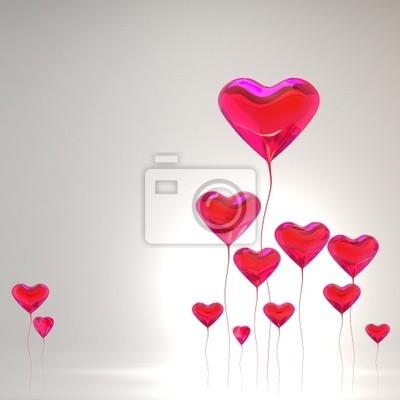 Globo del corazón de color rojo de fondo día de san valentín ...