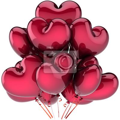 Cuadro Globos amor corazón decoración del partido en forma de color rojo oscuro