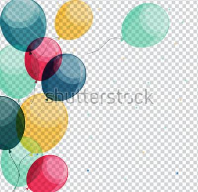 Cuadro Globos brillantes del feliz cumpleaños en el fondo transparente Vector Illustration eps10