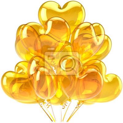 Globos de cumpleaños amarilla decoración en forma de corazón translúcido