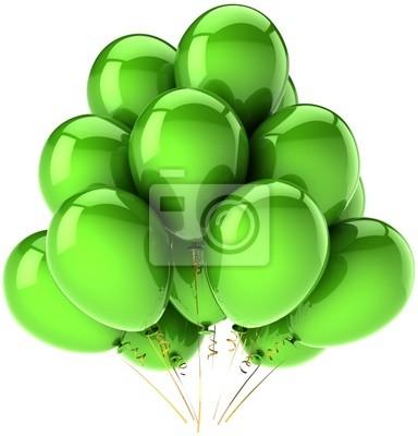 Globos de cumpleaños decoración del partido verde. Concepto de la felicidad