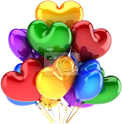 Globos de cumpleaños en forma de corazón decoración del partido multicolor